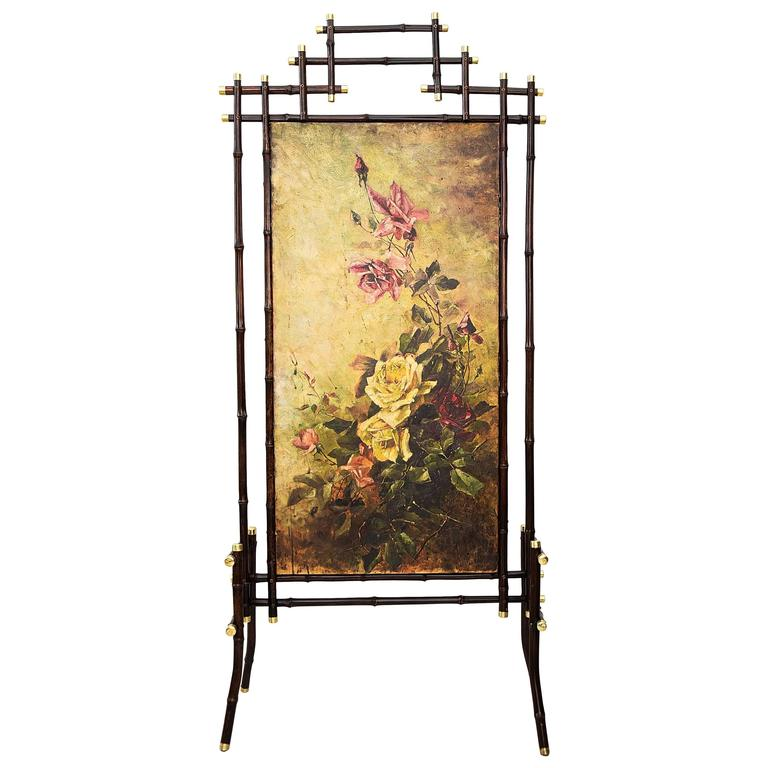 Jugendstil Bamboo Paravent with Oil Painting For Sale
