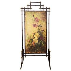 Jugendstil Bamboo Paravent with Oil Painting