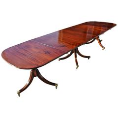 Regency Dining Table, Three Pedestal, Cuban Mahogany, Period