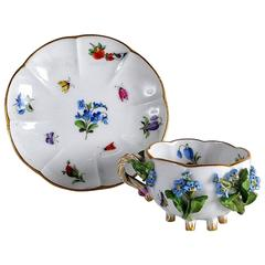 19th Century Meissen Cup and Saucer Encrusted with Flowers