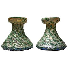Antique Pair of Moorish Crackle Finish Durand Art Glass Candle Sticks, c1920