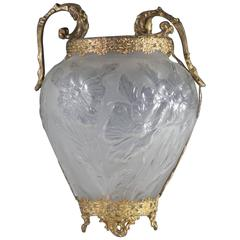 20th Century Frosted Glass Vase with Gilded Brass Overlay and Rococo Handles
