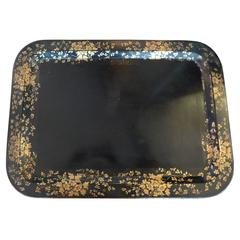 French xix Black Toile Tray with Gold Decorative Painted Surround