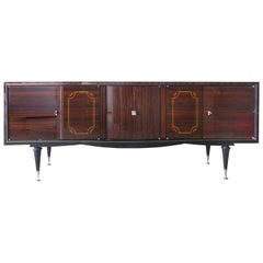 1930s French Art Deco Macassar and Ebony Credenza with Bar Compartment
