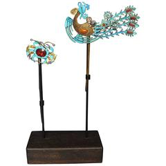 19th Century Chinese Qing Period King Fisher Feather Hair Ornaments