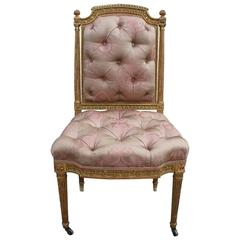 Wonderful Louis XVI Gold Giltwood Tufted Chair in Pale Pink Silk