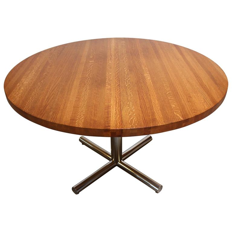 Butcher Block Dining Table With Chrome Base For Sale At 1stdibs