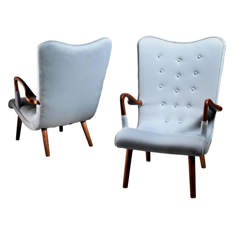 Pair of Swedish Curved Beech and Wool Lounge Chairs, 1940s