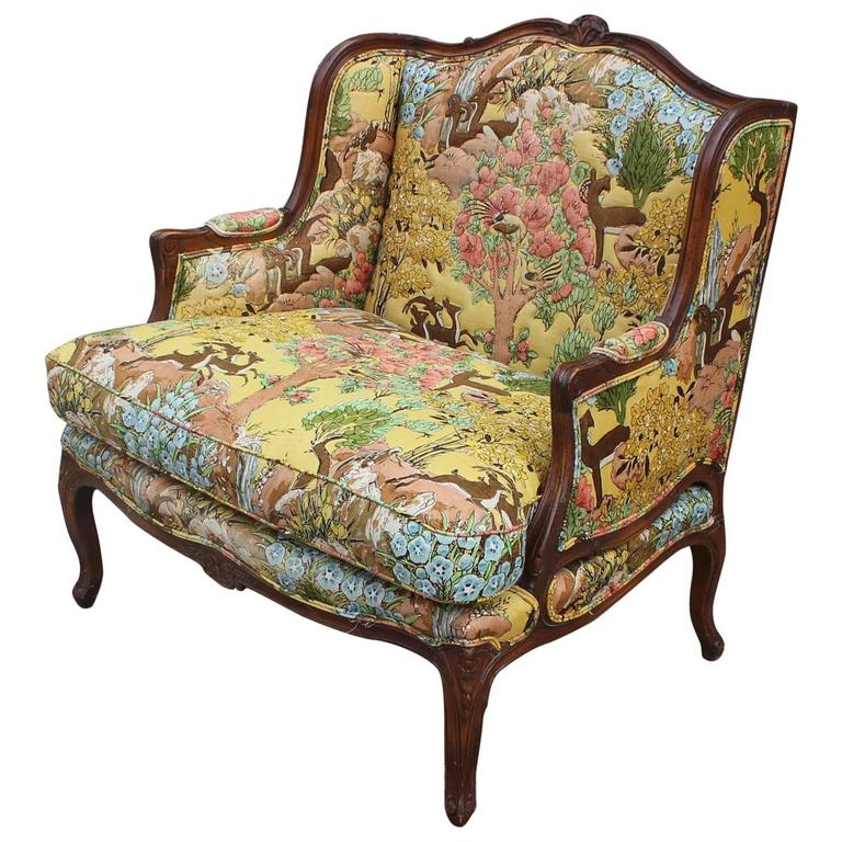 Charmant Large French Bergere Chair With Gold Yellow Wildlife Upholstery For Sale