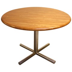 Cafe-Style Maple Butcher Block Dining Table on Chrome Base
