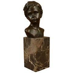 Art Deco Styled Bronze Bust of Young Boy Mounted on Marble Block Base