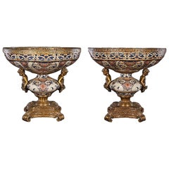 Pair of Bronze Mounted Porcelain Bowls