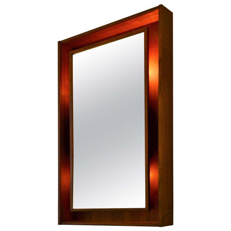Round Asymmetric Frame Danish Wall Mirror Attributed To
