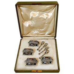Puiforcat French Sterling Silver 18-Karat Gold Four Salt Cellars, Box, Spoons