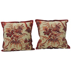 Pair of Vintage French Scarlet Red and Orange Printed Linen Decorative Pillows