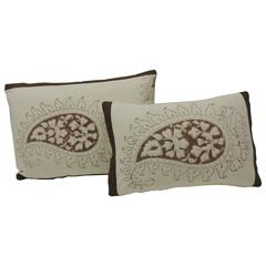 CLOSE OUT SALE: Pr. of Brown and Cream Indian Printed Paisley Decorative Pillows