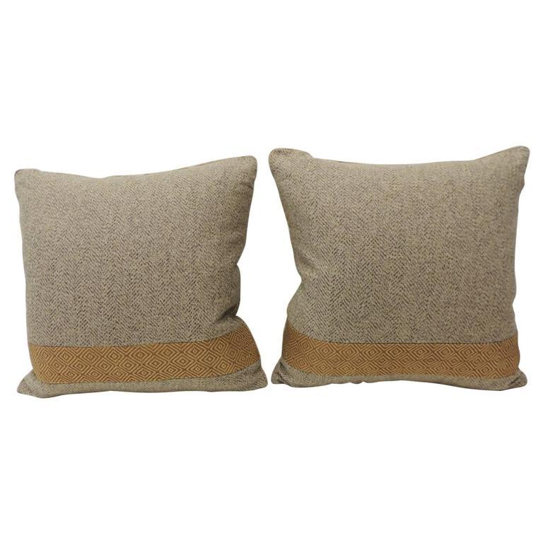 CLOSE OUT SALE: Pair of Chevron Pattern Brown Vintage Textile Decorative Pillows