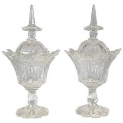 Pair of 19th Century Anglo-Irish Cut-Glass Compote Jars