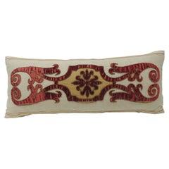Byzantine Style Red Cut Velvet Applique Decorative Bolster Pillow