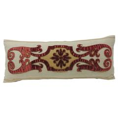 Byzantine Style Red Cut Velvet Appliqué Decorative Bolster Pillow