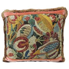 18th Century French Needlework Tapestry Decorative Multi-Color Decorative Pillow