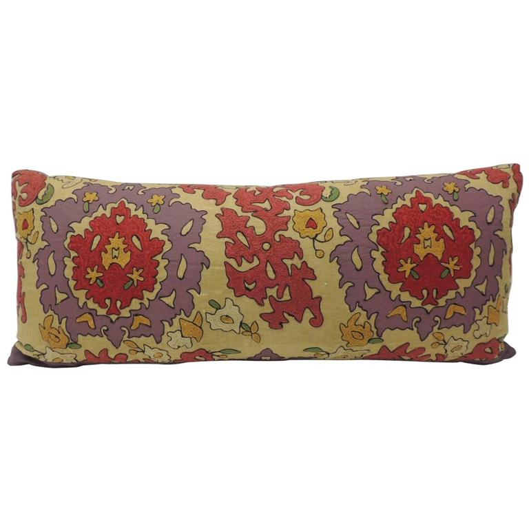 19th Century Long Uzbek Vintage Suzani Large Bolster Decorative Pillow For Sale at 1stdibs