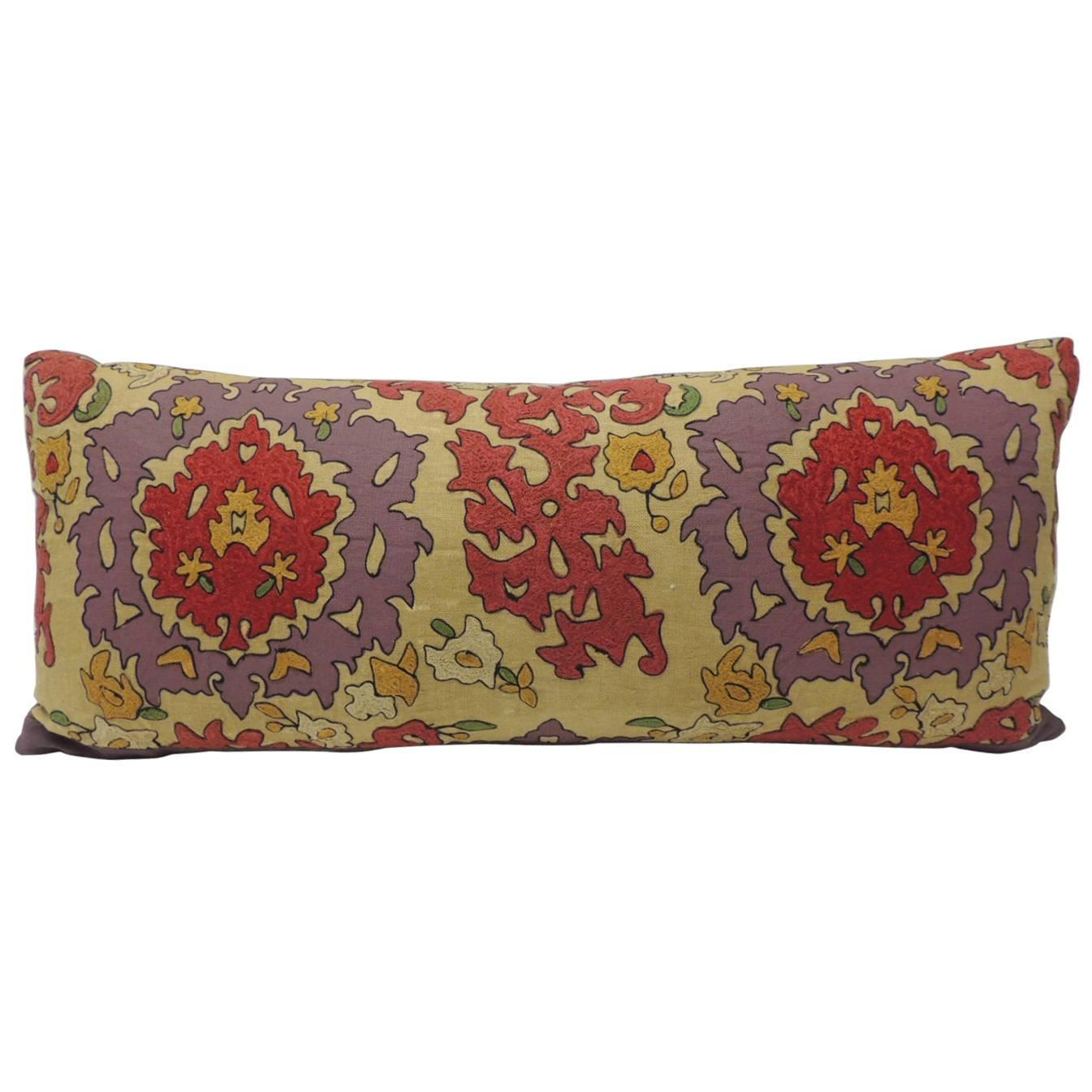 Decorative Pillows Long : 19th Century Long Uzbek Vintage Suzani Large Bolster Decorative Pillow For Sale at 1stdibs