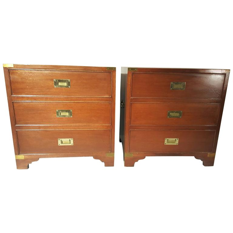 Classic Pair of Mahogany and Brass Campaign Stands/Chest For Sale