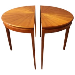 A Fine French 1950's Cherry Round Dining Table or Two Demi Lune Tables