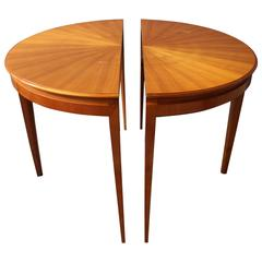 Fine French 1950s Cherry Round Dining Table Divisible in Two Demi Lune Tables