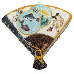 19th Century English Majolica Japanese Fan Box S.Fielding & Company