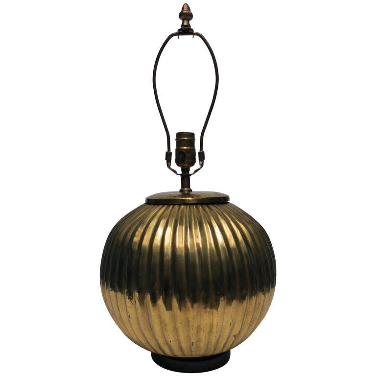 1970s Pleated Round Brass Table or Desk Lamp