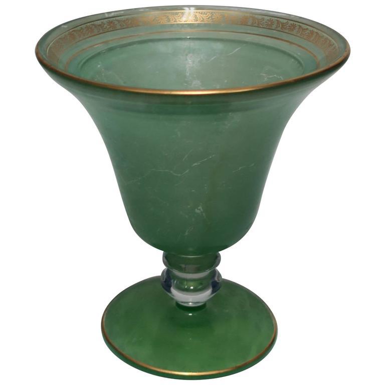 Vintage Green and Gold Glass Urn Vase