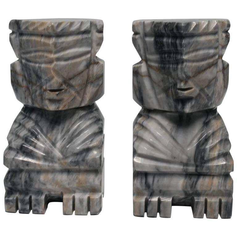 Pair of Tall Tribal Marble Bookends