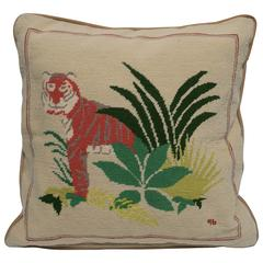 Vintage Art Deco Tiger Cat Needlepoint Accent Pillow, 1990s