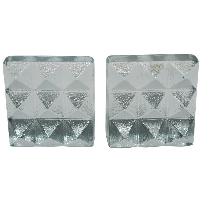 Pair of Glass Pyramid Bookends