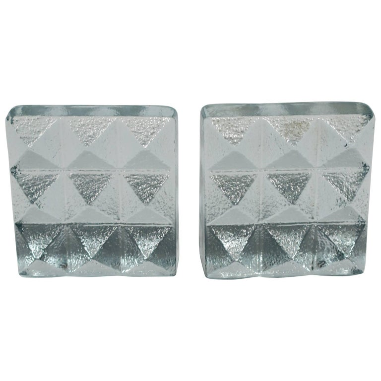Glass Pyramid Bookends For Sale