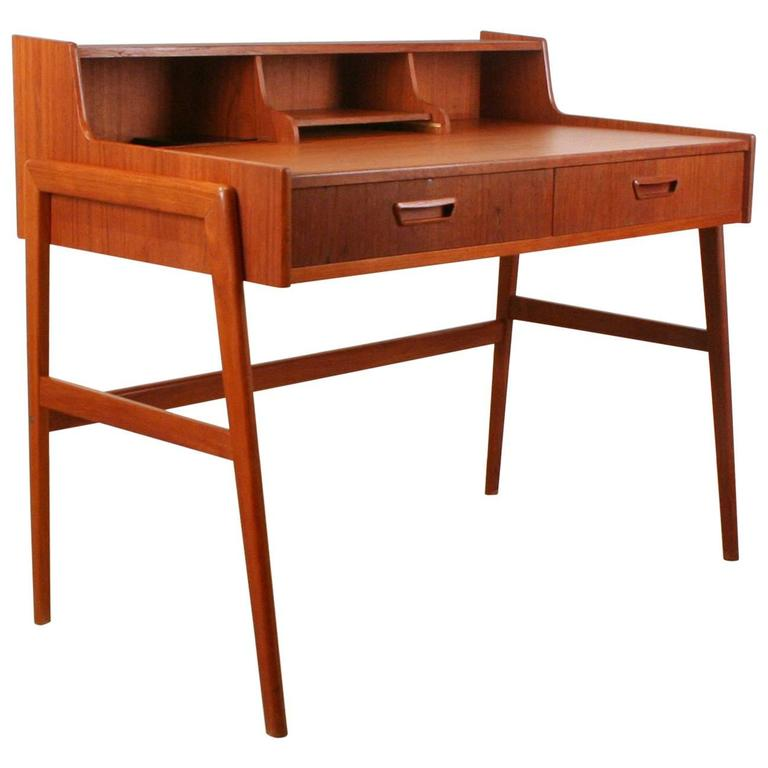 - Vintage Danish Teak Writing Desk At 1stdibs