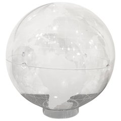 Mid-Century Modern Clear and Frosted Lucite World Globe on Lucite Stand