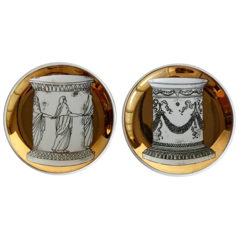 Mid-Century Bucciarelli Milan Porcelain Coasters, Set of Two 1