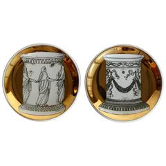 Mid-Century Bucciarelli Milan Porcelain Coasters, Set of Two