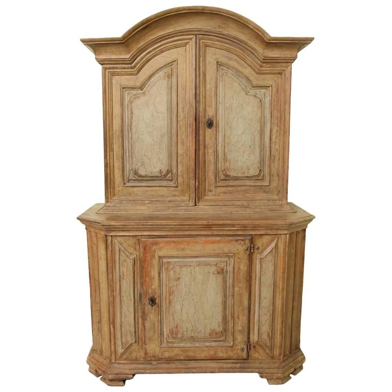 18th Century Swedish Baroque Period Two-Part Original Painted Cabinet  For Sale