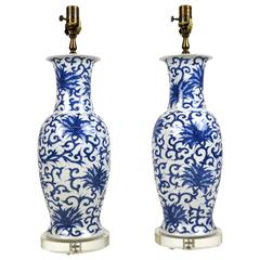 Pair of Japanese Blue and White Porcelain Lamps