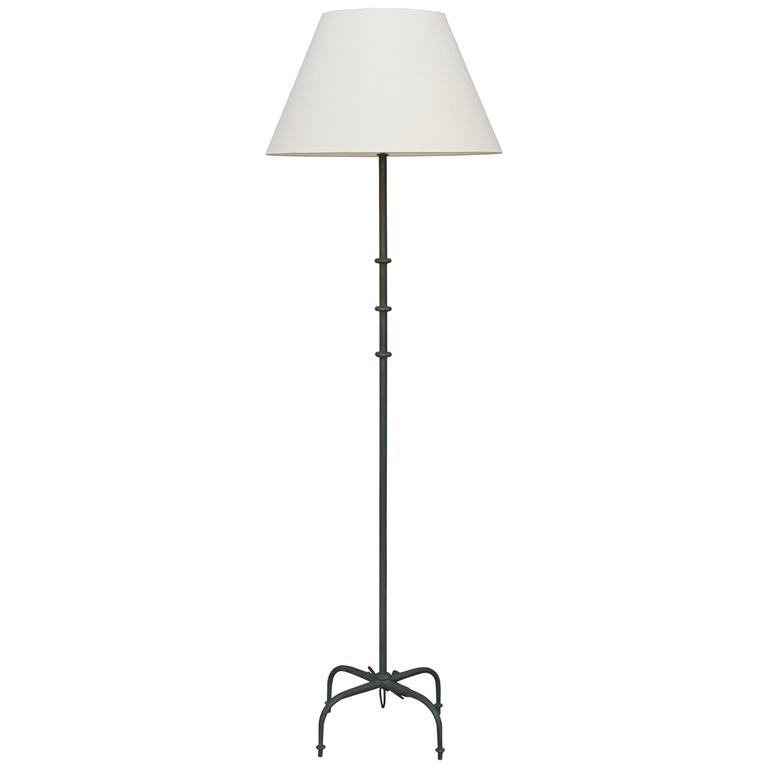 Chic French 1940s Patinated Steel Floor Lamp in the Style of Jacques Adnet