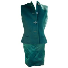 Bill Blass Emerald Green Stapless Cocktail Dress and Matching Vest