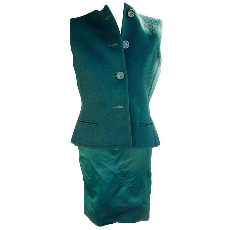 Bill Blass Emerald Green Stapless Cocktail Dress and Matching Vest For Sale