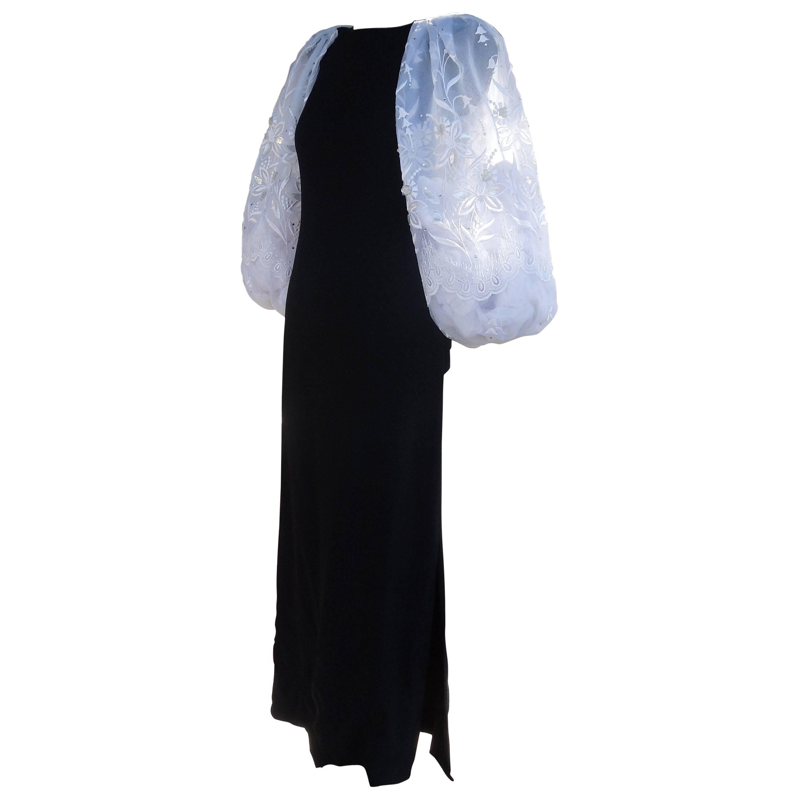 Richilene New York Beaded Organza Sleeve Black Crepe Evening Dress