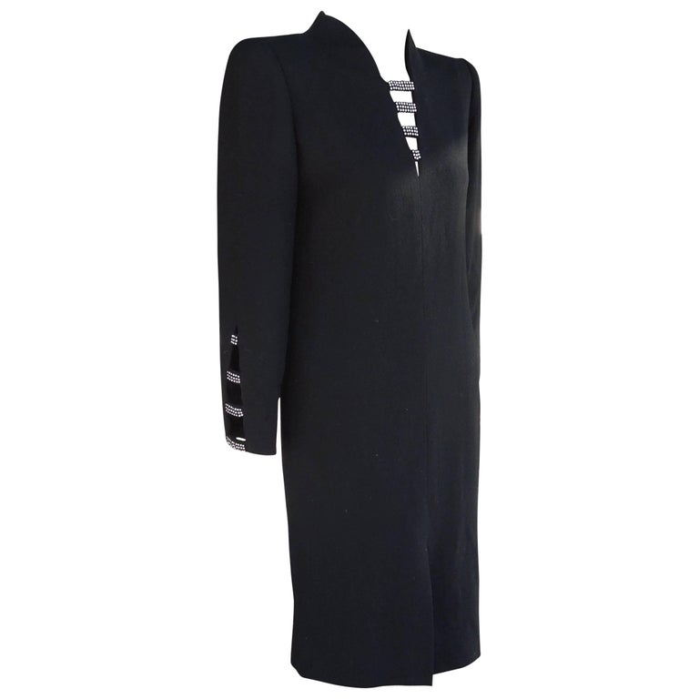 David Hayes for Neiman Marcus Black Crepe Cocktail Dress with Rhinestones For Sale