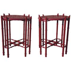 Pair of Mid-Century Cinnabar Lacquer Side Tray Tables
