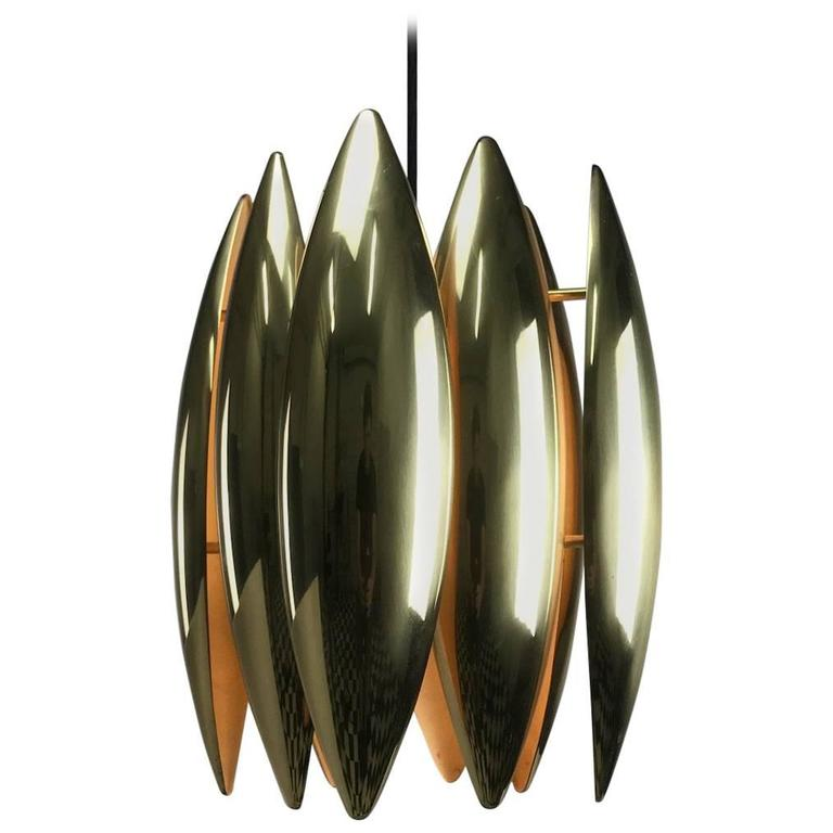 1969 Brass Ceiling Pendant Kastor by Jo Hammerborg For Sale